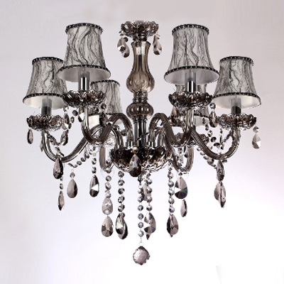 Bright Faceted Crystals Waterfall Fabric Bell Shades Crystal Chandelier Lights