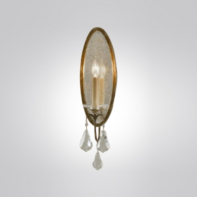 Clear Crystals Accents and Glass Mirror Delight in Wonderful Wall Sconce
