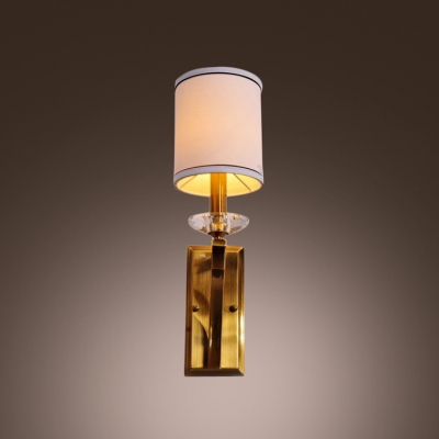 Contemporary Simple Wall Sconce Complete with Gold Finish and White Fabric Drum Shade