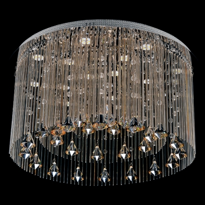 Contemporary Style and Graceful Chrome Finished Flush Mount Light Hanging Crystal Balls