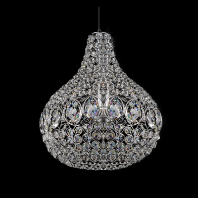 Contemporary Style Chrome Finished Cylinder Crystal Beaded Pendant Lighting