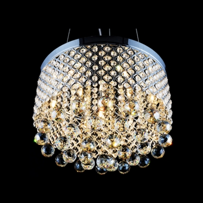 Criss-Cross Chrome Finish Shade Warm Amber Crystal Globes Chandelier Pendant Light