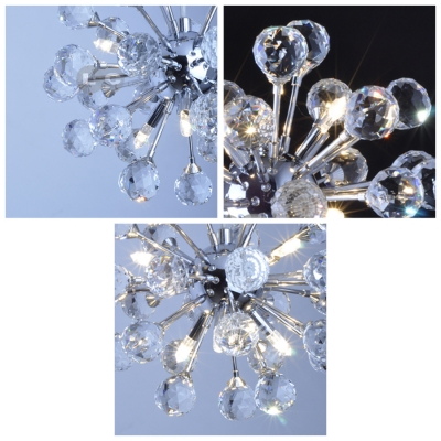 Delicate Clear Crystal Balls and Polished Chrome Finish Add Glamour to Delightful Mini Pendant Light