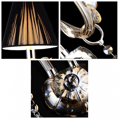 Delicate Wall Plate and Graceful Arm Embellished with Clear Crsytal to Single-light Wall Sconce.