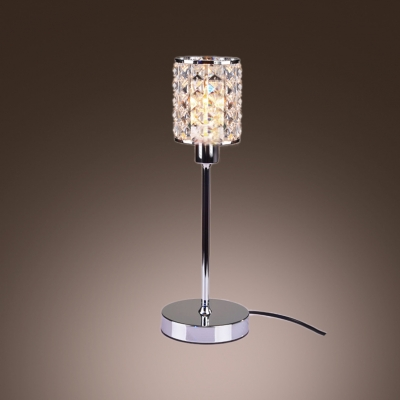 Distinctive Crystal Table Lamp Composed By Hand Cut Beads And Chrome Finish Base