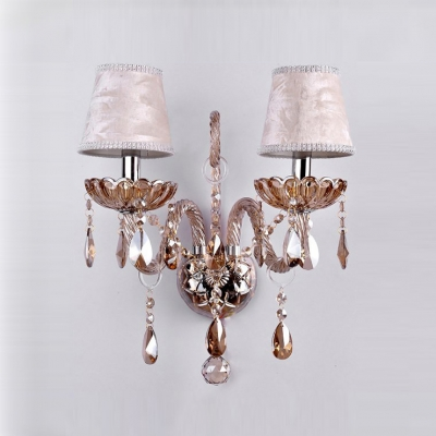 Dramatic Luxurious Two Light Crystal Wall Sconce Pairs with Elegant Curving Arms