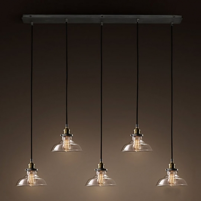 Industrial Bronze 5 Light LED Multi-Light Pendant With Clear Glass Shade