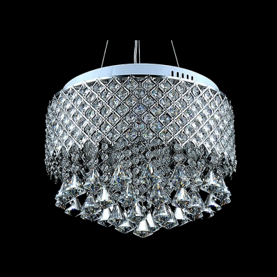 Electroplated Chrome Finished and Bright Clear Crystal Droplets 16.5