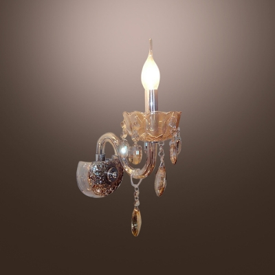 Elegant Single Light Wall Sconce Features Graceful Curving Crystal Arm and Droplets