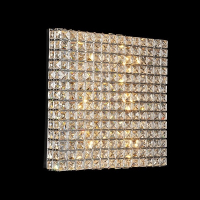 Elegantly Square Chrome and Crystal Flush Mount Embedded by Bright Crystal Beads