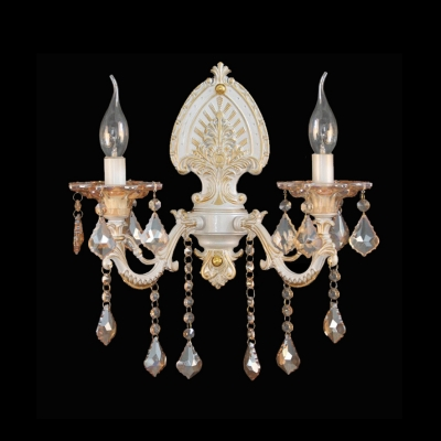 European Candelabra Style Wall Sconce Featured Glamourous Zin Alloy and Lead Crystal
