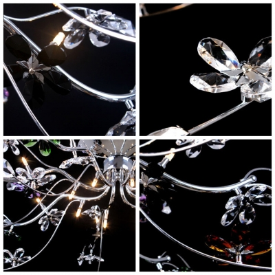 finely hand cut bright crystal flower and leaf flush mount light with metal branches frame