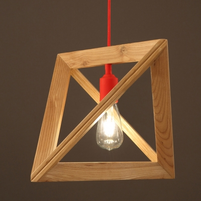 """Geometric Wood Designer Pendant Light With Red Cord 11.8""""Wide"""