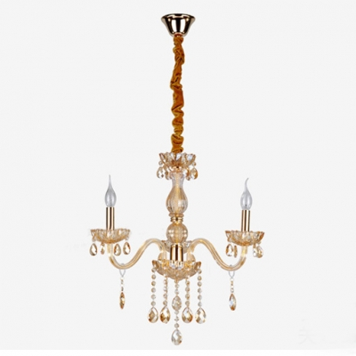 Gleaming Crystal Chandelier Completed with Graceful Crystal Drops and Scrolling Arms