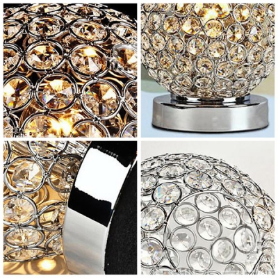 Gleaming Exquisite Table Lamp with Clear Crystal Beads and Chrome Finish Base Offers Contemporary  Decor