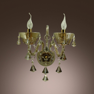 Glistening Splendid Crystal Wall Sconce Featured Double Candle-style Light and Lead Crystal Droplets
