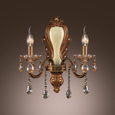 Gold Finish and Crystal Drops Add glamour to Exquisite Two Light  Wall Sconce