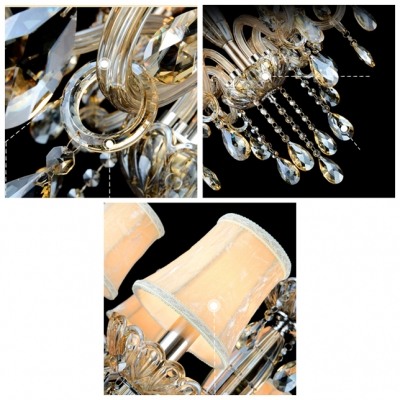 Gorgeous Amber Crystal Droplets and Strands 6-Light Traditional Crystal Chandelier