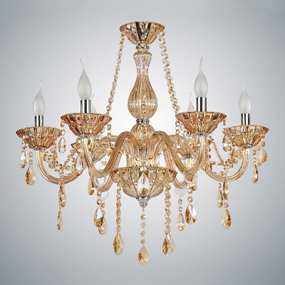 Gorgeous Pure Crystal Six Lights Candle-shaped Light Living Room Crystal Chandelier Light