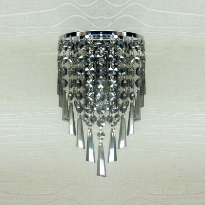 Graceful Crystal Stream and Polished Silver Finish Stainless Steel Frame Accented Glamorous Single Light Hallway Wall Sconce