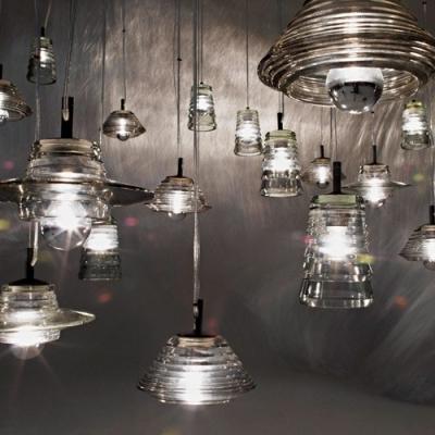 Lid Shaped Pressed Clear Glass Designer Pendant Light for Dining Room 8
