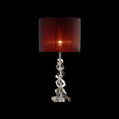 Red Lining Black Lace Shade And Beautiful Stacked Irregular Crystal Cubes  Adorned Modern Table Lamp