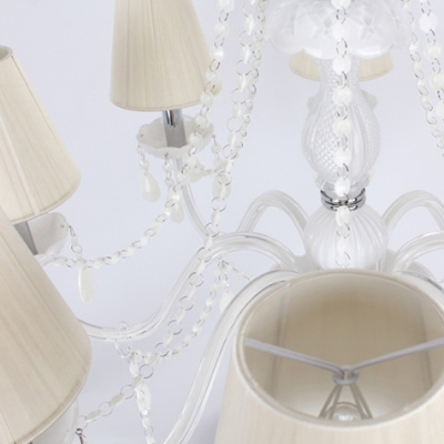 Soft and Chic White Crystal Glass Arms 8-Light White Crystal Chains and Drops Chandelier