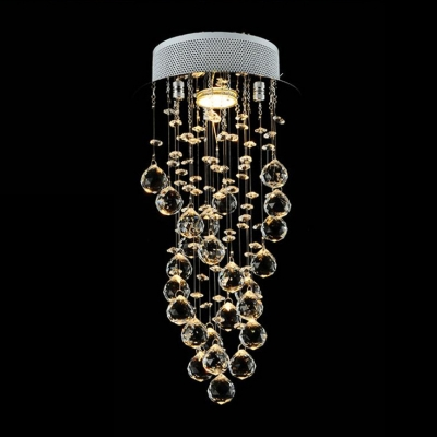 Spiral Crystal Rainfall Flush Mount Chandelier 21.5
