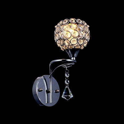 Twinkling Clear Crystal Accented Single Light Polished Chrome Finish Iron Frame Wall Sconce Perfect for Bedroom