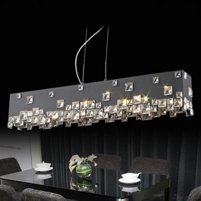 White Fabric Shade Accented with Mini Square Crystals Formed Delightful Stunning Pendant Light