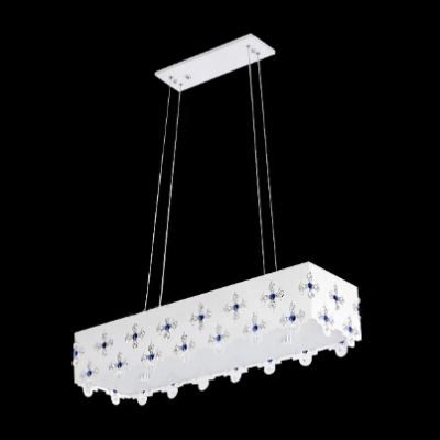 Beautiful Pendant Light Features Vibrant Flower Motif on White Shade and Clear Crystal Beads