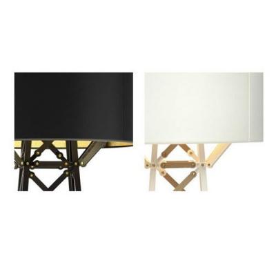 Designer Table Lamp with Ladder Base Drum Shade, Black/White