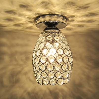 Bold and Intriguing Oval Metal Shade Semi-Flush Mount Accented by Crystals