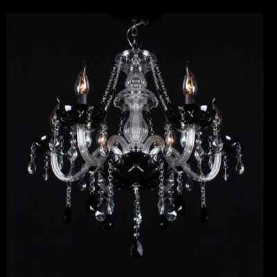 Clear Crystal Column And Strands Black Bobeches Chandelier Add Elegant To Your House