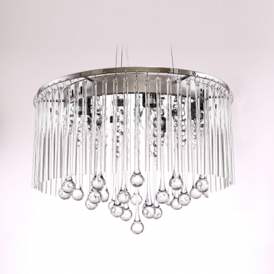 Clear Crystal Raindrops Hanging 8-Light Intriguing and Enchanting Large Pendant