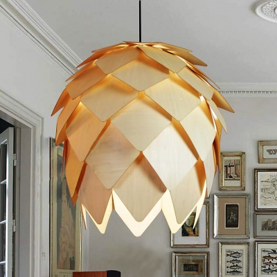Country Style Wood Pine cone Pendant By Designer Lighting