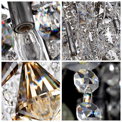 Curved Crystal Prisms and Sparkling Crystal Strands Flush Mount Lights Hanging Crystal Diamonds