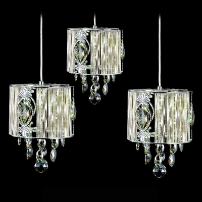 Baycheer / Delicate Polished Chrome Finish Frame and Beautiful Crystal Detailing Add Charm to Delightful Multi-Light Pendant