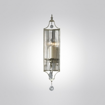 Distinguished Design Single Light Wall Sconce Features Elegant Metal Frame and Clear Crystal Drop