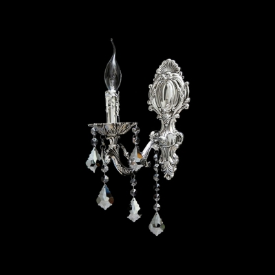 Elegant Single Light Wall Sconce Features Decorative Silver Finish and Crystal Crystal Perfect for Hallway Lighting