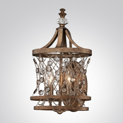 Eye-catching Handsome Wall Lights Adorned with Wrought Iron Frame supports Crystal Accents