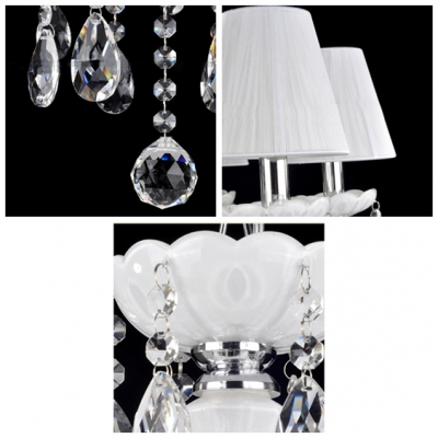 Glamorous and Soft White 5-Light Fabric Shade Crystal Droplets and Ball Chandelier