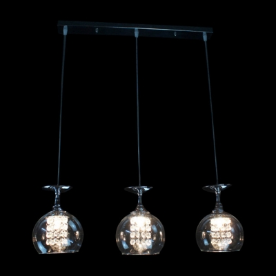 Globe Pendant Light Features Three Crystal Lights Drop From Rectangular Steel Canopy