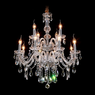 Gracefully 12 light two tiered crystal chandelier shine with gracefully 12 light two tiered crystal chandelier shine with brilliance clear crystal drops aloadofball Image collections