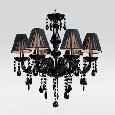 Jet black silken shade and curved crystal glass arms 5 light jet black silken shade and curved crystal glass arms 5 light mysterious chandelier aloadofball Choice Image