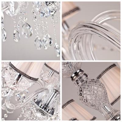 Large Crystal Drops Hand Made Fabric Shades 23.6