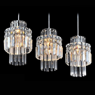 Lavish Three Light Multi-Light Pendant Features Clear Glass Shades Embraced by Delicate Square Crystals