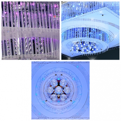 Majestic and Charming LED Crystal Flush Mount Shine with Crystal Diamond Droplets