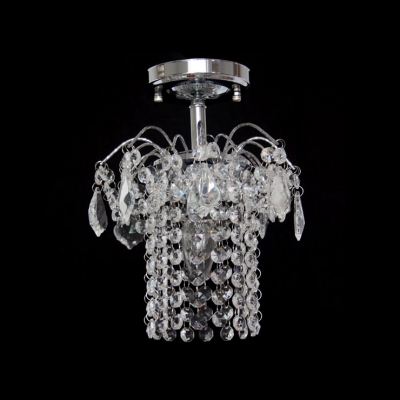 Paris Flea Market Inspired and Striking Crystal Rainfall and Chrome Finish Composed Semi Flush Ceiling Light