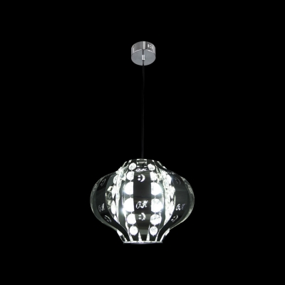 Round Chrome Finish Frame Sparkling Crystal Beads Accented Large Pendant Light